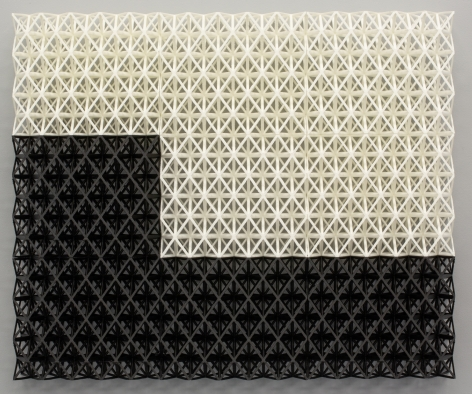 "Matthew Kluber Drawing Structure (Carry the Zero), 3D printed Tough PLA (polylactic acid), 17.5 x 21.25 x 3, 2019, a three dimensional grid structure, wall mounted, with black ""L"" shaped black grid on lower left and bottom, overtopped with a white grid filling the remainder of this rectangular piece."