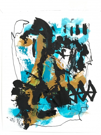 an abstract James Brinsfield painting with bright blue and earth tones and thick and thin black painted drawing over it in vertical marks and diamond shapesarine shapes rising and stopped with larger orange-yellow and deep blue shapes on top