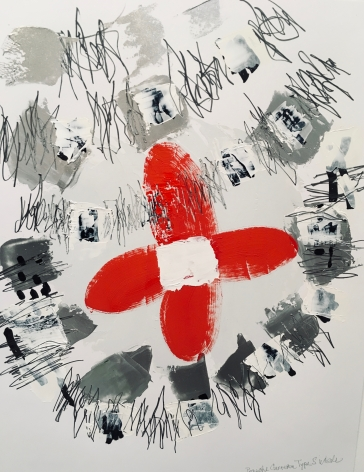 an abstract James Brinsfield painting with a red propeller surrounded by active grey shapes and active drawing with paint