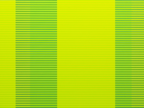 "Matthew Kluber - Split Infinitives (green, chartreuse, blue-green), alkyd on aluminum, 30"" x 40"", 2019, precisely striped narrow horizontal bands of the colors in the title that start and stop creating the illusion of four major variously colored vertical elements"