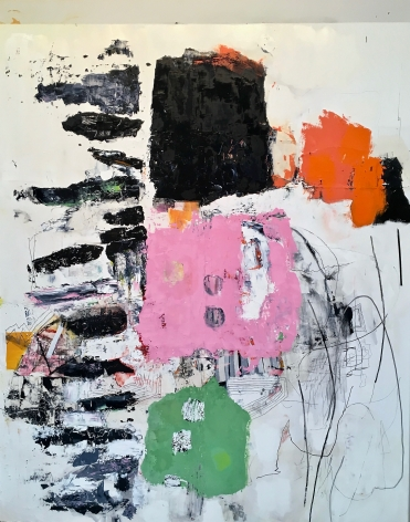 """Ametora - Japanese version of American """"style"""" - a James Brinsfield abstract painting with black, pink, green and orange blocky shapes, and linear drawing"""