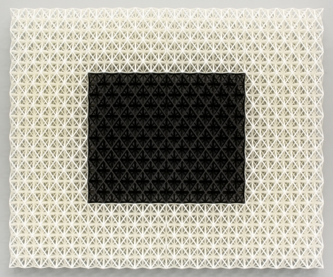 Matthew Kluber Drawing Structure (Mainframe), 3D printed Tough PLA (polylactic acid), 23.5 x 28.5 x 3, 2019, a three dimensional grid structure, wall mounted, with a white grid surrounding a center black grid