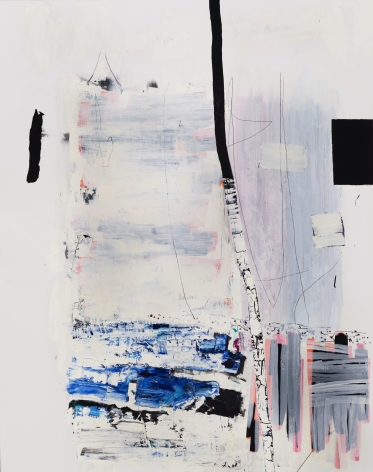 """a large abstract James Brinsfield painting, the first in his """"division"""" series, a vertical birch trunk divider with interrupted dark blue and black stack opposed by an orderly stack of grey and pink"""