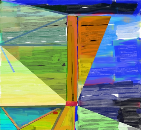 "Abstract orange, blue, green and yellow digital painting by Warren Rosser. Pole Series ""A"", 2019,  archival digital print on Sunset archival cotton etching paper,  30h x 32w in."