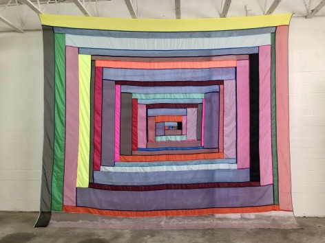 """Rachel Hayes """"Shelter 1"""", see through fabric wall hanging, colorful stripes around a center"""