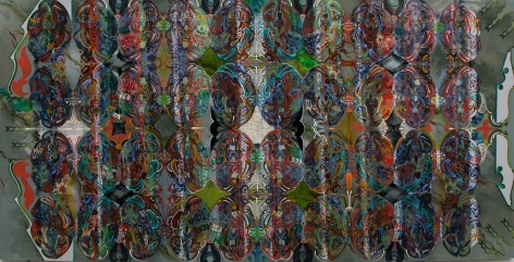 An abstract painting, much more complex than Anaglypta wall paper which it references, organic shapes on a gray-green field