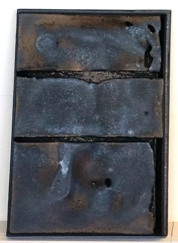 """Cary Esser, Parfleche (metallic2), earthenware and glaze, 16"""" x 12"""" x 2"""", 2018, rectangular ceramic """"parfleche"""" with a beautiful metallic glaze, two intentional strong horizontal void elements, and one intentional strong vertical void element along the lower right side"""