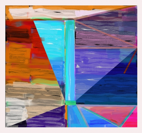 """Abstract orange, teal, purple and red digital painting by Warren Rosser. Pole Series """"B"""", 2019,  archival digital print on Sunset archival cotton etching paper,  30h x 32w in."""