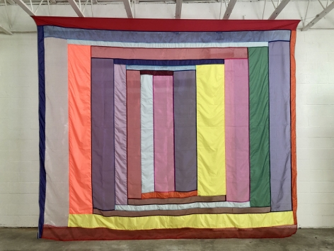 """Rachel Hayes """"Shelter 2"""", see through fabric wall hanging, colorful stripes"""