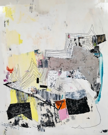 a James Brinsfield abstract painting with muted warm colors, paint-stick drawing and reminiscent overall of its title
