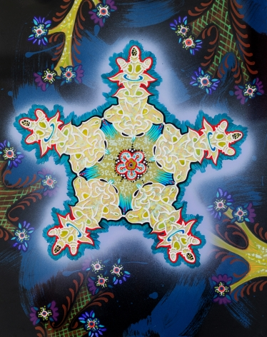an abstract painting with a central gold snowflake-light shape outlined in red and blue, in a blue-black field of organic shapes