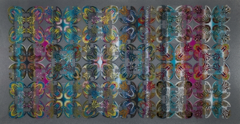 An abstract painting with colorful, symmetrical, organic shapes in a grid on a gray field