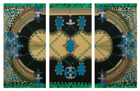 A three panel painting that overall suggests a stadium or racetrack, but is composed of organic shapes suggesting cells