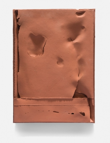 """Cary Esser, Parfleche (r3), unglazed red earthenware, 16"""" x 11.9"""" x 1.4"""", 2017 (sold), rectangular ceramic """"parfleche"""", reddish color, with paper-like surface layer and intentional void spaces, now in a Museum collection"""