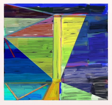 "Abstract blue, yellow, green and mauve digital painting by Warren Rosser. Pole Series ""C"", 2019,  archival digital print on Sunset archival cotton etching paper,  30h x 32w in."