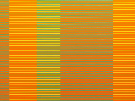 "Matthew Kluber - Split Infinitives (orange, aqua, chartreuse), alkyd on aluminum, 30"" x 40"", 2019, precisely striped narrow horizontal bands of the colors in the title that start and stop creating the illusion of five variously colored vertical elements"