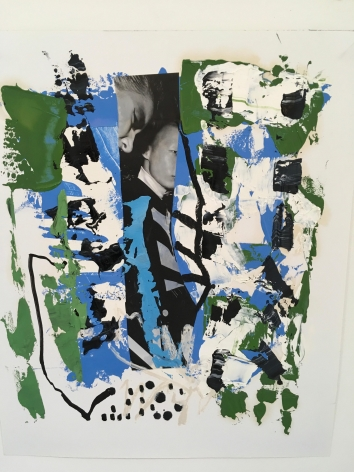 an abstract James Brinsfield painting with open space, greens, different blues, black mark making and drawing, and part of a black and white collaged photo