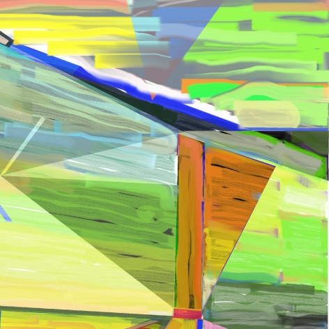 "Abstract orange, lime green, yellow, and blue digital painting by Warren Rosser. Pole Series ""D"", 2019,  archival digital print on Sunset archival cotton etching paper,  30h x 32w in."