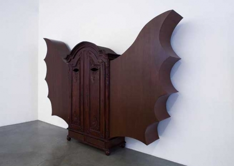 A for a Pleasant Room, 2007. Wood armoire, 87 x 147 x 22-1/2 inches (220.9 x 373.3 x 57.1 cm).
