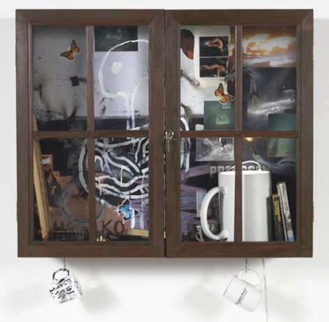 Inkantinent Mochte Gemacht; Mexiko, 2011. Mixed media collage in cabinet/window, 31 3/4 x 37 1/2 x 12 3/4 inches (80.6 x 95.3 x 32.4 cm). MP 21