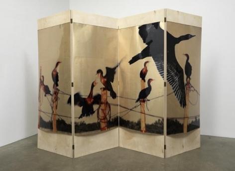 L'eau de vie Screen #1, 2010. Acetate, foil, mdf, 4 panels, 85 x 31.5 x 1 inches (each panel), 85 x 126 x 1 inches (overall). MP 130
