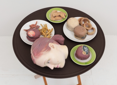 Josh Kline, 15% Service (Applebee's Waitress' Head), 2018. 3D-printed sculptures in plaster with inkjet ink and cyanoacrylate, custom tray, wooden stand, 38 1/4 x 28 1/2 x 28 1/2 inches (97.2 x 72.4 x 72.4 cm).