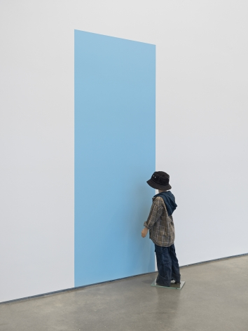 Origin, 2020. One dressed mannequin, blue wall paint, one mannequin stand,