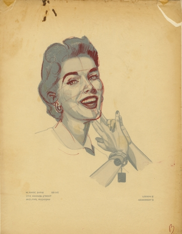 Mark Shaw drawing of woman smiling with corrections