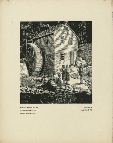 Mark Shaw drawing of a mill
