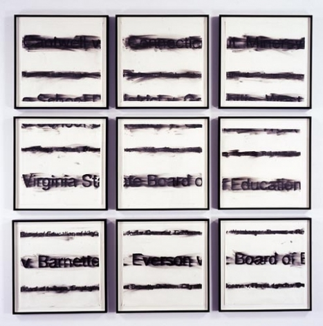 Gary Simmons, Case Grid, 2003. Charcoal on vellum, 9 works in a 3' x 3' grid, paper: 19 x 19 inches each; overall: 63 x 63 inches. MP D-277