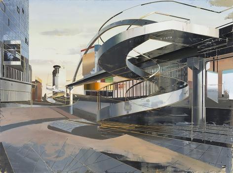 Cui Jie painting of abstracted footbridge
