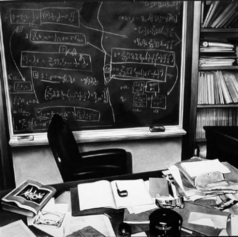 Einstein's Desk (Princeton), 2003. Charcoal on mounted paper, 60 x 72 inches. MP D-550
