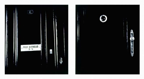 Untitled (diptych - exterior apartment door w/ nameplate and peephole 1938), 2000. Graphite and charcoal on mounted paper, 2 panels, each 66 x 60 inches (167.6 x 152.4 cm). MP D-395