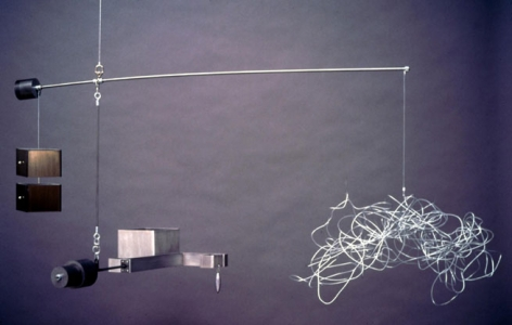 Repressed Spatial Relationships Rendered as Fluid, No. 4: Stevenson Junior High and Satellites, 2002. Aluminum, steel, wire, plexi-glass. MP 02-16