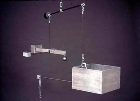 Mike Kelley ,Repressed Spatial Relationships Rendered as Fluid, No. 1: Martian School(Work Site), 2002. Sculpture: aluminum, steel; drawing - mixed media on butcher paper mounted on rag paper. Sculpture: 42 x 54 x 54 inches (106.7 x 137.2 x 137.2 cm); drawing: 35 x 50-1/2 inches (88.9 x 128.3 cm). MP 02-13