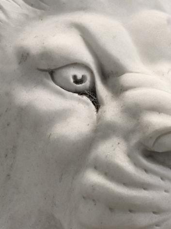 Man's Mind (detail), 2018. Marble, beard trimmings,
