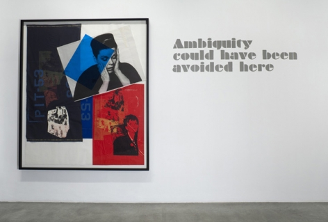 Paulina Olowska, Ambiguity could have been avoided here, 2009. Silkscreen on paper and fabric, glue, colored gels, tape, foil, 74 1/4 x 63 1/2 inches (188.6 x 161.3 cm); framed: 78-3/4 x 68-3/8 inches (196.2 x 171.8 cm). MP D-46