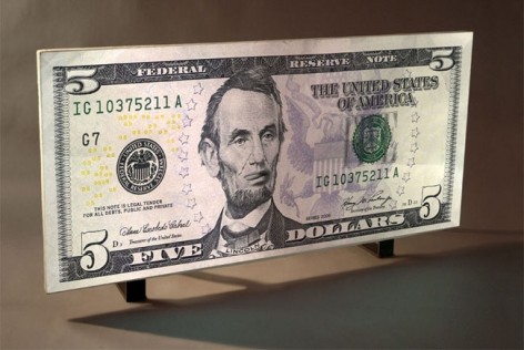 Federal Reserve Note Five Dollars, 2009. Aqua resin, gesso and video projection, 41.75 x 96.5 inches (103.5 x 242.6 cm). MP 582