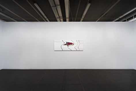 Installation view of Andy in L.A. (adjusted to fit, distorted for the times, two), 2004/2016/2019 at Art Basel, Switzerland