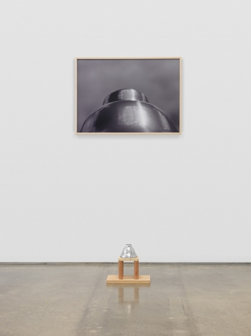 Untitled (Silver Lampshade), 1987. Metal lampshade, wood, dye sublimation print,