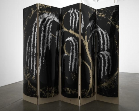 Yours, Patsy Cline screen #1, 2010. Acetate, foil, mdf, 5 panels, 85 x 19 x 1 inches (each panel); 85 x 95 x 1 inches (overall). MP 136