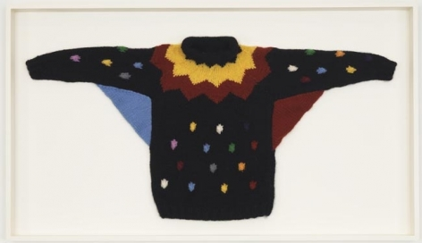 Sweater 2 (Klaun), 2010. Wool sweater, 35 x 60 1/2 x 3 3/4 inches (framed) (88.9 x 153.7 x 9.5 cm). MP 80