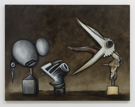 Stone. Brass. Feathers., 2019. Oil on linen, 50 x 65 3/16 inches (127 x 165.6 cm).