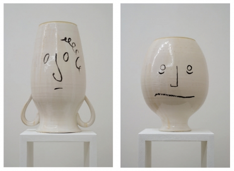 Judith Hopf ceramic vessels with faces