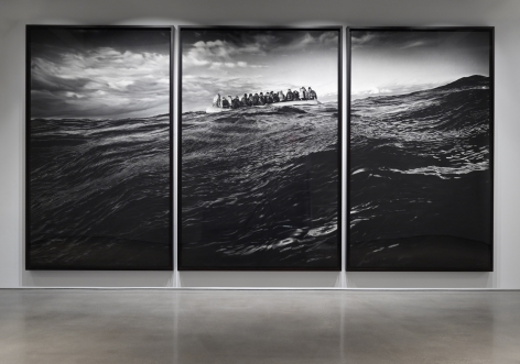 Untitled (Raft at Sea), 2016-2017. Charcoal on mounted paper, 140 x 281 inches (355.6 x 713.7 cm).