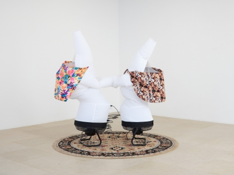 Paul Chan, Dimposium, 2016. Nylon, fans, fabric, rug, 93 x 77 x 44 inches (236.2 x 195.6 x 111.8 cm).