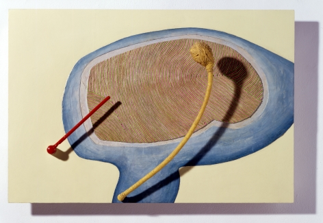 Eva Hesse mixed media work on panel