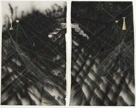 Timeline Diptych/Facial , 2007. Diptych -spray paint, pencil, collage on paper. Each part - 80 x 50 inches (203.2 x 127 cm).