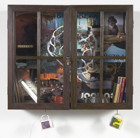 Inkantinent Mochte Gemacht; Arizona, 2011. Mixed media collage in cabinet/window, 31 3/4 x 37 1/2 x 12 3/4 inches (80.6 x 95.3 x 32.4 cm). MP 20