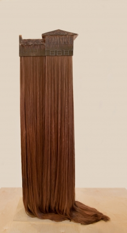 Hair House #2, 2014. Epoxy resin, synthetic hair, Plexiglas, fiberglass, welded steel, wood,